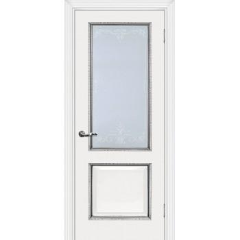 Дверь Мурано-1 белый, патина серебро  Экошпон Сатинат, контурный полимер серебро со стеклом