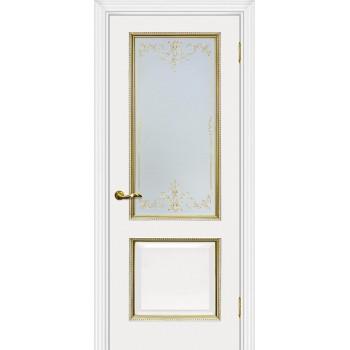Дверь Мурано-1 белый, патина золото  Экошпон Сатинат, контурный полимер золото со стеклом