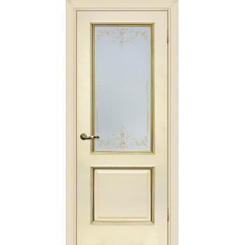 Дверь Мурано-1 магнолия, патина золото  Экошпон Сатинат, контурный полимер золото со стеклом