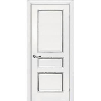 Дверь Мурано-2 белый, патина серебро  Экошпон глухое