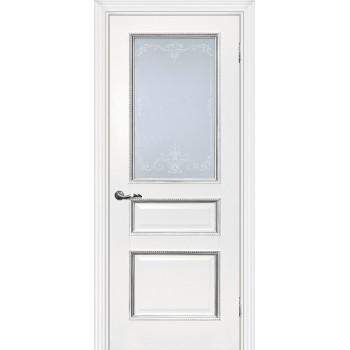 Дверь Мурано-2 белый, патина серебро  Экошпон Сатинат, контурный полимер серебро со стеклом