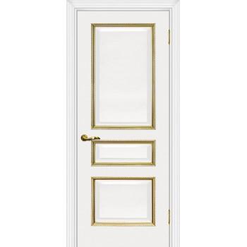 Дверь Мурано-2 белый, патина золото  Экошпон глухое