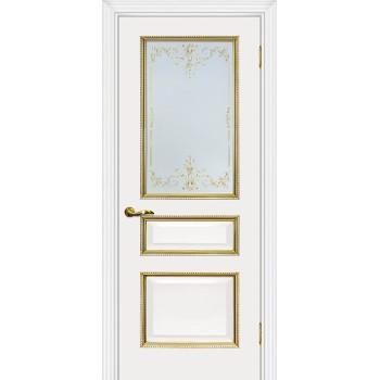 Дверь Мурано-2 белый, патина золото  Экошпон Сатинат, контурный полимер золото со стеклом