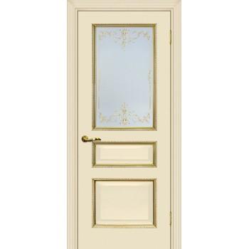Дверь Мурано-2 магнолия, патина золото  Экошпон Сатинат, контурный полимер золото со стеклом