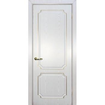 Дверь Сиена-4 патина Белый золото  PVC глухое