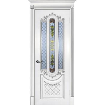 Дверь Смальта 13 Белый ral 9003 патина серебро  Эмаль глухое