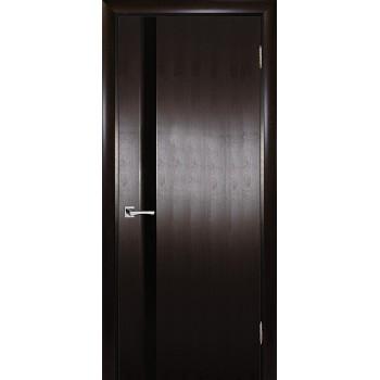 Дверь Страто 01 Тонированный черный дуб  Шпон Черное триплекс со стеклом