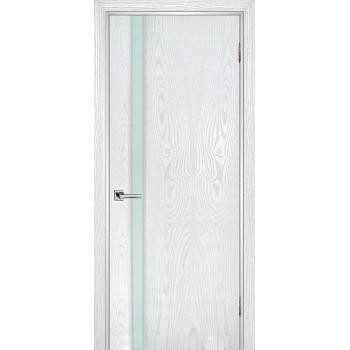 Дверь Страто 01 Ясень айсберг  Шпон Молочный триплекс со стеклом