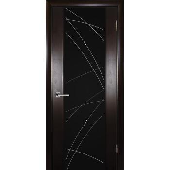 Дверь Страто 02 Тонированный черный дуб  Шпон Черное триплекс гравировка, рис. Роса со стеклом