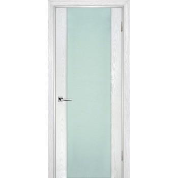 Дверь Страто 02 Ясень айсберг  Шпон Молочный триплекс со стеклом