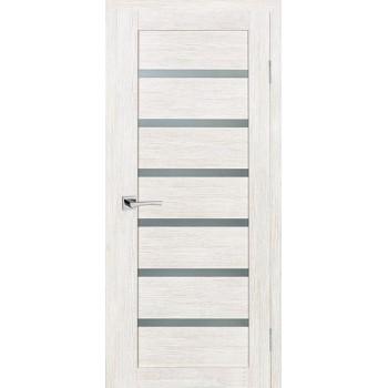 Дверь ТЕХНО-607 ЭшВайт  3D покрытие белый сатинат со стеклом