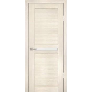 Дверь PS-03 ЭшВайт Мелинга  Экошпон белый сатинат со стеклом