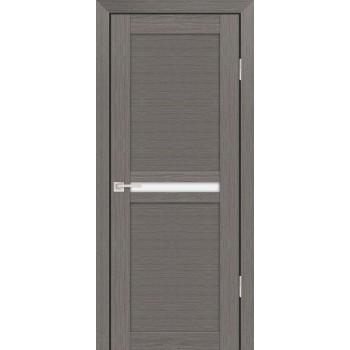 Дверь PS-03 Грей Мелинга  Экошпон белый сатинат со стеклом