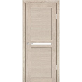 Дверь PS-03 Капучино Мелинга  Экошпон белый сатинат со стеклом