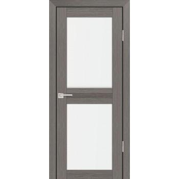 Дверь PS-04 Грей Мелинга  Экошпон белый сатинат со стеклом