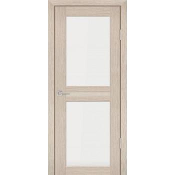 Дверь PS-04 Капучино Мелинга  Экошпон белый сатинат со стеклом