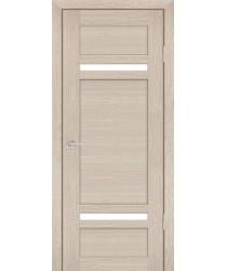 Дверь PS-05 Капучино Мелинга  Экошпон белый сатинат со стеклом