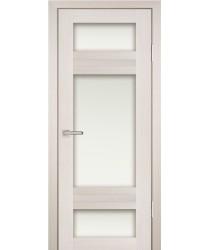 Дверь PS-06 ЭшВайт Мелинга  Экошпон белый сатинат со стеклом