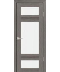 Дверь PS-06 Грей Мелинга  Экошпон белый сатинат со стеклом