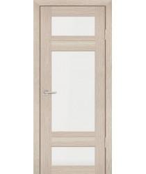 Дверь PS-06 Капучино Мелинга  Экошпон белый сатинат со стеклом