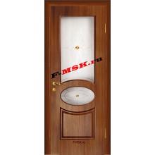 Дверь Алекс Темный орех  Шпон Белое сатинато, художественное, фьюзинг со стеклом (Товар № ZA 12646)