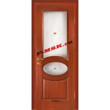 Дверь Алекс Красное дерево  Шпон Белое сатинато, художественное, фьюзинг со стеклом (Товар № ZA 12647)