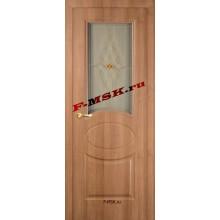Дверь Алекс Орех карамельный  3D покрытие Белое сатинато, художественное, фьюзинг со стеклом (Товар № ZA 12650)