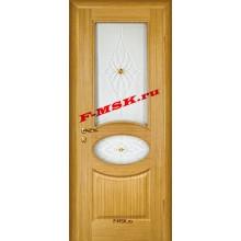 Дверь Алекс Светлый дуб  Шпон Белое сатинато, художественное, фьюзинг со стеклом (Товар № ZA 12648)