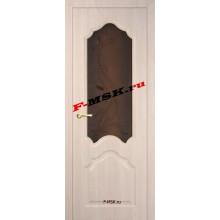 Дверь Кардинал Капучино Мелинга  3D покрытие Бронза сатинато, художественное, фьюзинг со стеклом (Товар № ZA 12660)