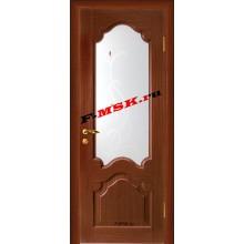Дверь Кардинал Темный орех  Шпон Белое сатинато, художественное, фьюзинг со стеклом (Товар № ZA 12659)
