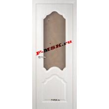 Дверь Кардинал ЭшВайт Мелинга  3D покрытие Белое сатинато, художественное, фьюзинг со стеклом (Товар № ZA 12663)