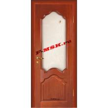 Дверь Кардинал Красное дерево  Шпон Белое сатинато, художественное, фьюзинг со стеклом (Товар № ZA 12665)