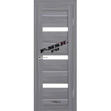 Дверь ТЕХНО-642 Светло серый  3D покрытие Белое сатинато со стеклом (Товар № ZA 12690)