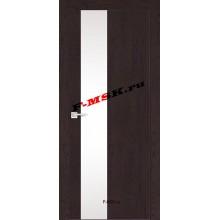 Дверь FX- 6 Ясень шоколад  Экошпон Белый лакобель со стеклом (Товар № ZA 12712)
