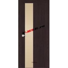 Дверь FX- 6 Ясень шоколад  Экошпон Кремовый лакобель со стеклом (Товар № ZA 12713)