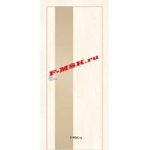 Дверь FX- 6 Ясень Слоновая кость  Экошпон Кремовый лакобель со стеклом (Товар № ZA 12715)
