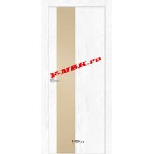 Дверь FX- 6 Ясень снежный  Экошпон Кремовый лакобель со стеклом (Товар № ZA 12717)