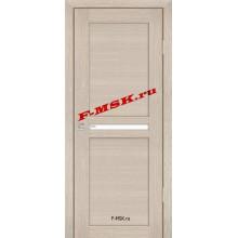 Дверь PS-03 Капучино Мелинга  Экошпон Белое сатинато со стеклом (Товар № ZA 12776)