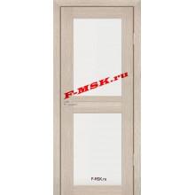 Дверь PS-04 Капучино Мелинга  Экошпон Белое сатинато со стеклом (Товар № ZA 12785)