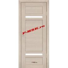 Дверь PS-05 Капучино Мелинга  Экошпон Белое сатинато со стеклом (Товар № ZA 12789)