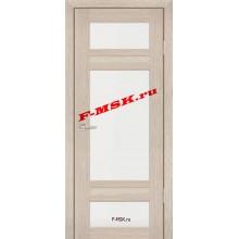 Дверь PS-06 Капучино Мелинга  Экошпон Белое сатинато со стеклом (Товар № ZA 12795)