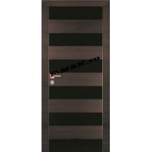 Дверь PX-5 Венге горизонтальный  Экошпон Черный лакобель со стеклом (Товар № ZA 13293)