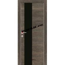 Дверь PX-6 Дуб дымчатый патина  Экошпон Черный лакобель со стеклом (Товар № ZA 13294)