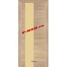 Дверь PX-6 Дуб натуральный патина  Экошпон Кремовый лакобель со стеклом (Товар № ZA 13302)