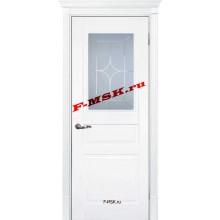 Дверь Смальта 01 Белый ral 9003  Эмаль Белое сатинато, гравированное со стеклом (Товар № ZA 13329)