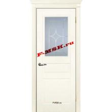 Дверь Смальта 01 Ral 1013 Слоновая кость  Эмаль Белое сатинато, гравированное со стеклом (Товар № ZA 13330)