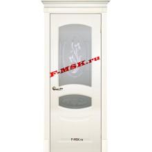 Дверь Смальта 02 Слоновая кость ral 1013  Эмаль Белое сатинато, пескоструйная обработка со стеклом (Товар № ZA 13332)
