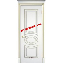 Дверь Смальта 03 Белый ral 9003 патина золото  Эмаль глухое (Товар № ZA 13334)