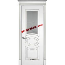 Дверь Смальта 03 Белый ral 9003 патина серебро  Эмаль Белое сатинато, пескоструйная обработка со стеклом (Товар № ZA 13338)