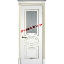 Дверь Смальта 03 Белый ral 9003 патина золото  Эмаль Белое сатинато, пескоструйная обработка со стеклом (Товар № ZA 13337)